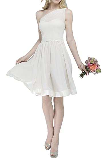 Gorgeous Bride Short One-shoulder A-line Bridesmaid Prom Cocktail Dresses-UK Size
