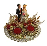 Loops n knots Red Crystal Wedding Ring Platter With 2 Ring Holders Platter Size 8' Diameter