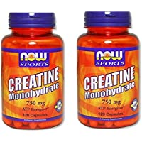 2本セット 海外直送品 Now Foods Creatine Monohydrate, 120 Caps 750 mg