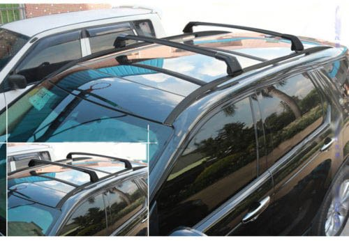 (4PCS Black Roof Rack + Cross bar For Land Rover New Discovery Sport 2015-2018 Baggage Rail)