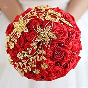 Wedding Bouquet Bride Holding Flowers Red & Gold Wedding Rose Bride 'S Bouquet DIY Bridal Bridesmaid Bouquets 70