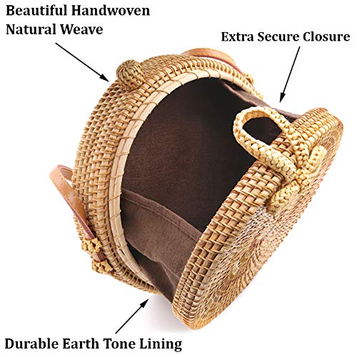RATTAN NATURALS Handwoven Round Rattan Crossbody Bag| DELUXE EDITION | Round Straw Bag for Women | Genuine 100% Leather Shoulder straps | Straw purse For Women | Boho bag | Straw Handbag for Women by Rattan Naturals (Image #4)
