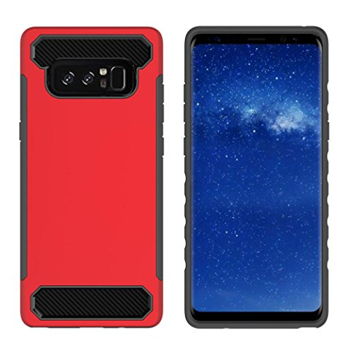 Price comparison product image Mchoice For Samsung Galaxy Note 8, Bling Hard Soft Rubber Impact Armor Case Back Hybrid Cover for Samsung Galaxy Note 8 (Red)