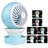 Onerbuy Mini USB Table Desk Personal Fan Portable Cool Air Conditional Fan with RGB LED Night Light (Blue)