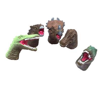 Amosfun Dedo de Dinosaurio títeres de Dedo Cabeza de Animal Artificial Dedos Juguetes niños Divertidos niños Accesorios 5pcs Color Aleatorio: Juguetes y juegos