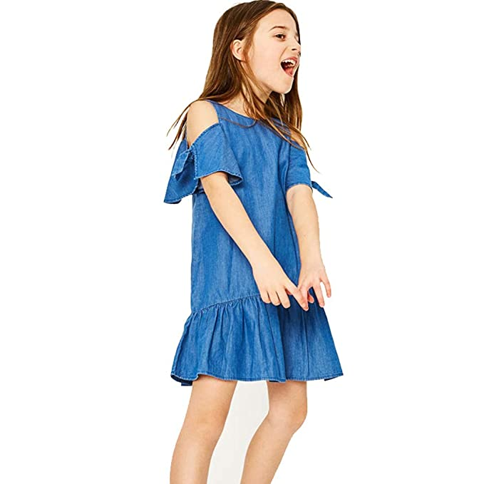 ASHOP - Vestidos niña de Princesa 2019 - Tutú Faldas de Fiesta - Mezclilla Fuera del Hombro Vestido de Verano - 1-6 Años: Amazon.es: Ropa y accesorios