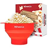 Product review for PowerLix Microwave Popcorn Popper, Collapsible Silicone Bowl, Hot Air Popcorn Maker, Healthy Machine No Oil Needed, BPA PVC Free With Lid AND Convenient Handles, Measuring cup Include (Red)