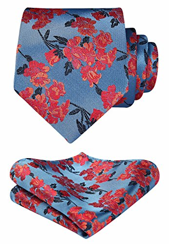 HISDERN Men's Floral Wedding Party Tie Handkerchief Flower Necktie & Pocket Square Set Blue / Orange
