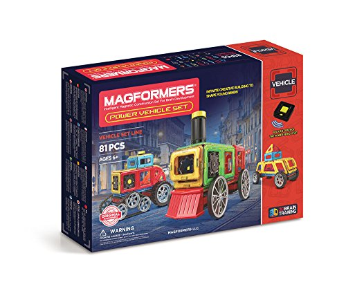 Magformers Power Vehicle Set (81 Piece) Set Magnetic    Building      Blocks, Educational  Magnetic    Tiles Kit , Magnetic    Construction  STEM Toy Set Includes Wheels