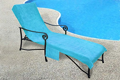 Pool Side 1000-Gram Chaise Cover, Pool lounge Chair Cover, Lawn Chair Cover, Patio Chair Cover with 10-Inch Slip-on Back and Side Pocket Pool Blue