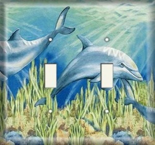 Double Light Switchplate Cover - Dolphins (Dolphin Switchplate)