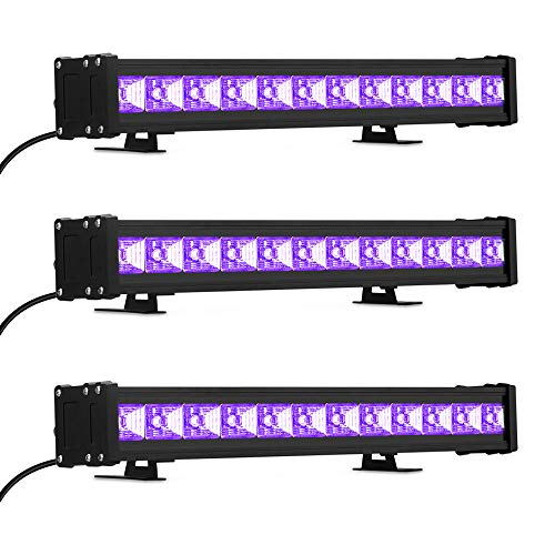 24W UV Black Light, 36 LED Black Light Bar, Glow in The Dark Party Supplies for Disco Stage Lighting, Halloween, Body Paint, Fluorescent Poster, Birthday Wedding Party, 3 Pack]()