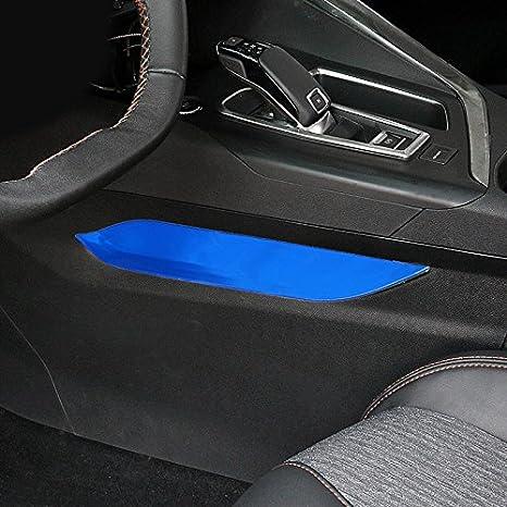 HIGH FLYING Juego de 4 Piezas de Acero Inoxidable Plateado//Azul//Negro para la Consola del Centro del Interior para Coches 3008 GT//5008 GT 2017 2018