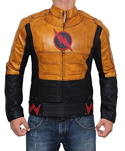 [The Reverse Flash Halloween Costume Yellow Waxed Synthetic Outwear Leather Jacket For Mens (M, Flash Yellow Waxed)] (Cw Reverse Flash Costume)