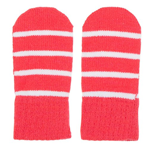 POLARN O. PYRET CLASSIC STRIPE MAGIC WOOL THUMBLE MITTENS - 0-6 months/Paradise (Stripe Mitten Clips)