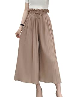 LaoZanA Damen Elegant Hose mit Weitem Bein Chiffon Sommerhosen Freizeithose  Plissierte Schlaghosen Hosenrock e0f3c0c5fa