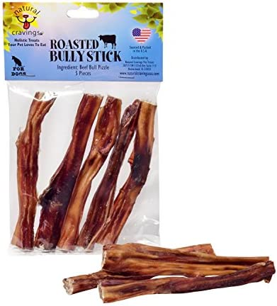 Natural Cravings USA Roasted Bully Sticks for Dogs 5 Pack 5 inch Odor Free Dog Chews
