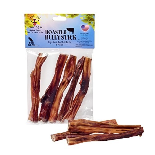- Natural Cravings USA Roasted Bully Sticks for Dogs 5 pack 5 inch Odor Free Dog Chews Natural Cravings