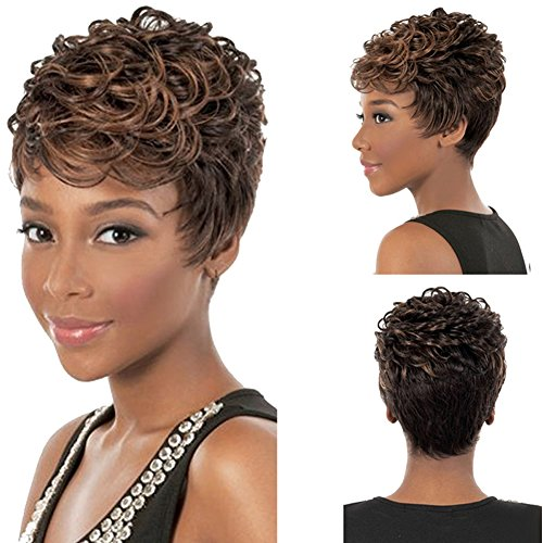 [RightOn 11'' Short Curly Wig Fashion Charming Perm Hair with Wig Cap/Comb (Mixed Brown)] (Perm Wigs)