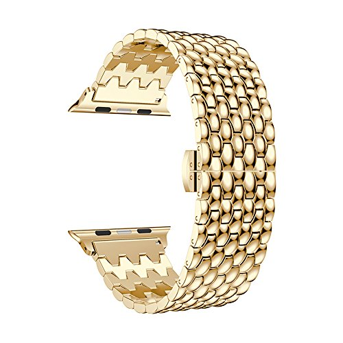 WETERS Apple Watch Band Suitable for 38Mm Dragon-Shaped Stainless Steel Chain Butterfly Buckle Wristband for Apple Watch Series 3 Series 2 Series 1 Sports Version,Gold,38Mm
