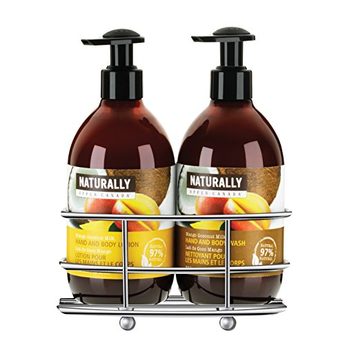 Upper Canada Soap Naturally Hand Wash and Lotion with Caddy Gift Set, Mango Coconut Milk