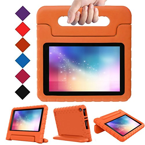 LTROP Fire 7 2017 Case, Light Weight Shock Proof Convertible Handle Stand EVA Protective Kids Case for Amazon Fire 7 inch Display Tablet (7th Generation - 2017 Release Only) – Orange