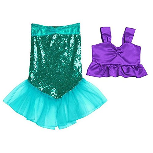 Freebily 2pcs Baby Girls Shiny Mermaid Tails Dress Ariel Costume Swimwear Swimsuit Bathing Suit Purple&Green 2 ()