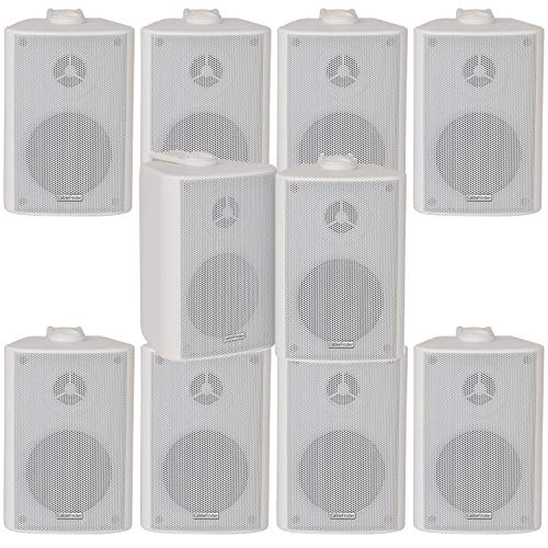 10x (5 paar) – 180W 2 Way Black Wall / plank gemonteerde stereoluidsprekers & beugels – 8″ 8Ohm – LOUD & BASS | Kwaliteit Home Music luidsprekers voor HiFi Surround Sound & Streaming Audio
