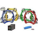 Mini Plastic Tambourine – 4Pack Kids Percussion Instrument with Jingles Free Gift Harmonica