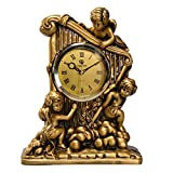 HAOFAY European Table Clock Mute Resin Desk Living Room Decorative Clock (Color : Picture Color)