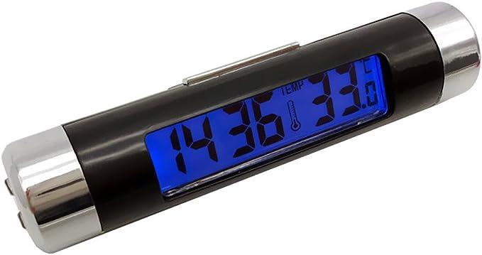 termometro 2 in 1 per uscita dellaria nell interno dellautomobile E-JIAEN orologio display LCD retroilluminato luce blu