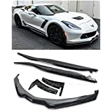 For 2014-2019 Chevrolet Corvette C7 | Z06 Stage 3 Front Bumper Lip Splitter With Side Extension Winglets & Side Skirts Panel Pair (ABS Plastic - Painted Carbon Flash Metallic)