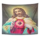TOMPOP Tapestry Sebechleby Slovakia July 24 Typical Catholic of Heart Jesus Christ From Printed in Germany the Begin 20 Home Decor Wall Hanging for Living Room Bedroom Dorm 50x60 Inches