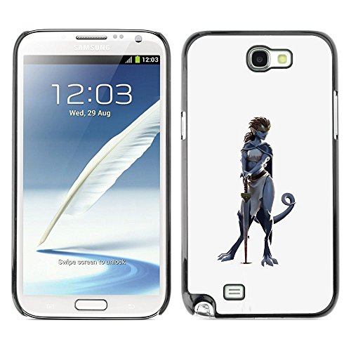 Plastic Shell Protective Case Cover || Samsung Galaxy Note 2 N7100 || Woman Character Cat Grey @XPTECH