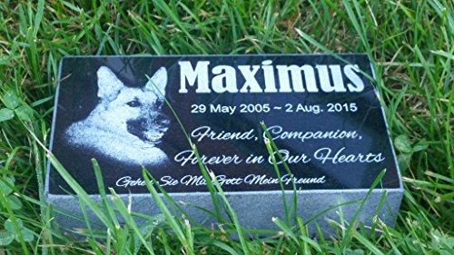 Personalised Pet Stone Memorial Marker Granite Marker Dog Cat Horse Bird Human 4'' X 7'' X 2'' Custom Design Personalized German Shepherd by Pet Stones USA (Image #3)