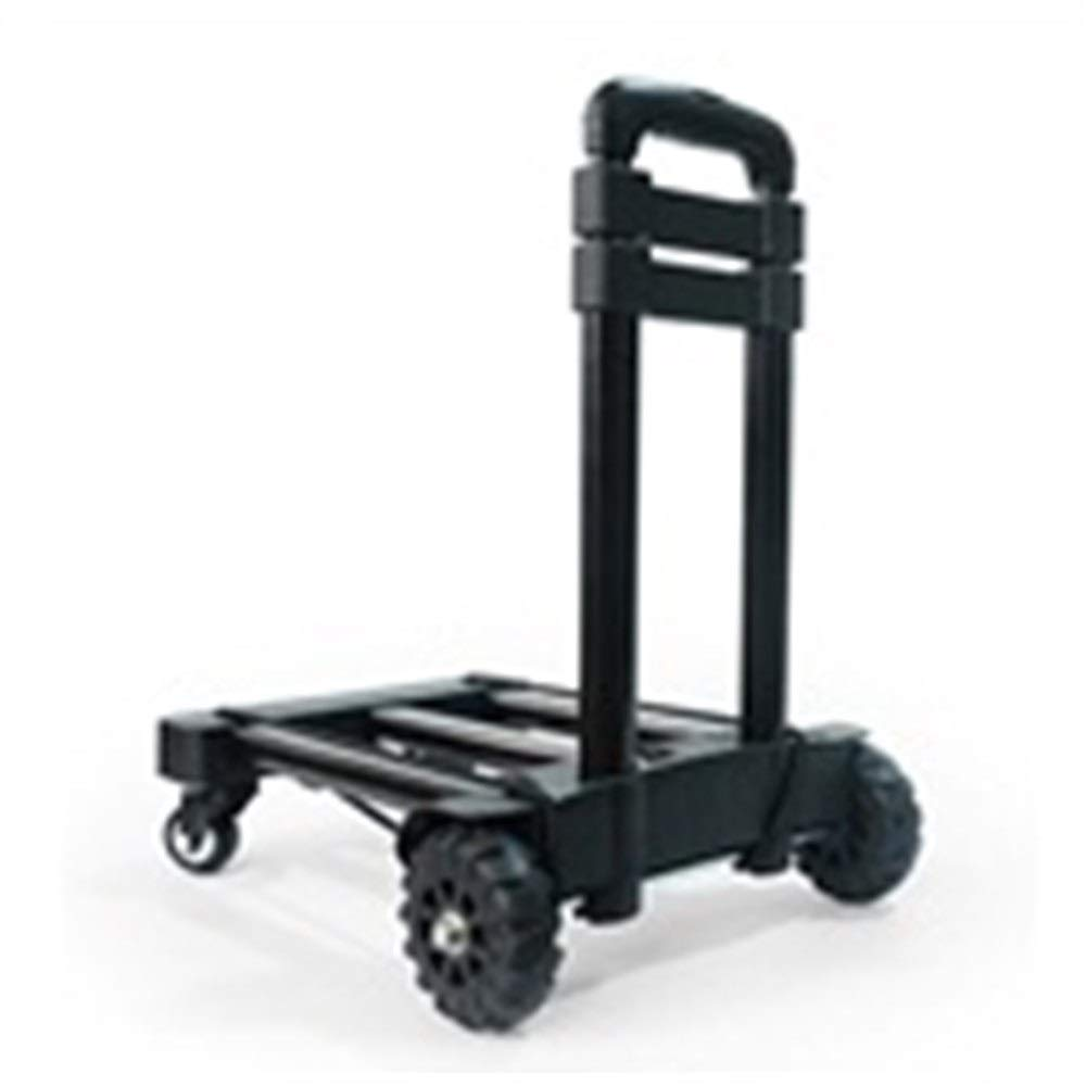 JIANPING Trolley Household Folding Portable Mute Trolley Car Shopping Cart Luggage Cart Truck Trailer Can Bear 55kg Shopping Trolley (Color : Black)