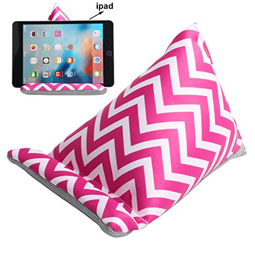 Plinrise Cute Fabric Phone Stands Ipad/Tablets Sofa/Pillow Holder, Lap Stand, Bean Bag, Soft Mounts For iPad Pro Air mini, iPad 4 3 2 1, Microsoft Surface Pro, E-Readers (Tablet Sofa Strip Rose Red)