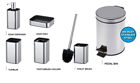 Toilet Accessoires Set : Rodica chrome bathroom accessories set tumbler pedal bin toilet