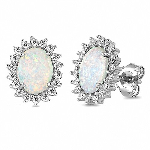 Halo Stud Earrings Flower Style Oval Created White Opal Simulated Round Simulated Cubic Zirconia 925 Sterling Silver (Created Opal Ring Flower Silver)