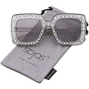 SojoS Crystal Oversized Square Brand Designer Sunglasses for Women SJ2053 with Transparent Grey Frame/Grey Lens