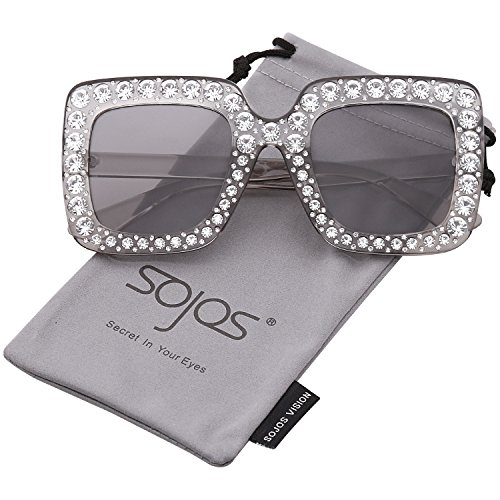 SojoS Crystal Oversized Square Brand Designer Sunglasses for Women SJ2053 with Transparent Grey Frame/Grey (Rhinestone Designer Sunglasses)