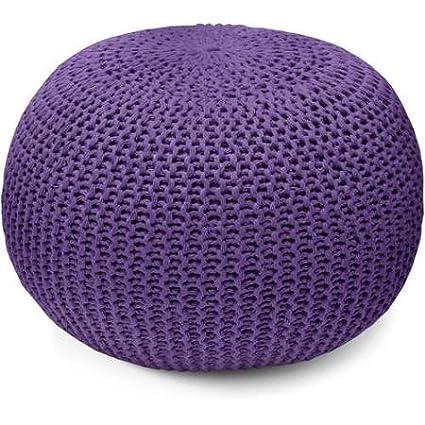 Purple : Urban Shop Round Knit Pouf, Purple