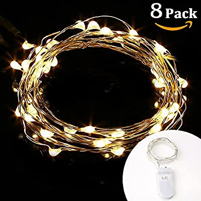 LE 20 Micro Starry LED Copper Wire String Lights, Battery Operated, Warm White, 3.3ft/1m, Waterproof, Moon Lights, Decoration Party Wedding Centerpiece Costume Making Christmas Thanksgiving