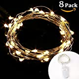 LE 8 PCS 20 Micro Starry LED Copper Wire String Lights, Battery Operated, Warm White, 3.3ft/1m, Waterproof, Moon Lights, Decoration Party Wedding Centerpiece Costume Making Christmas Thanksgiving