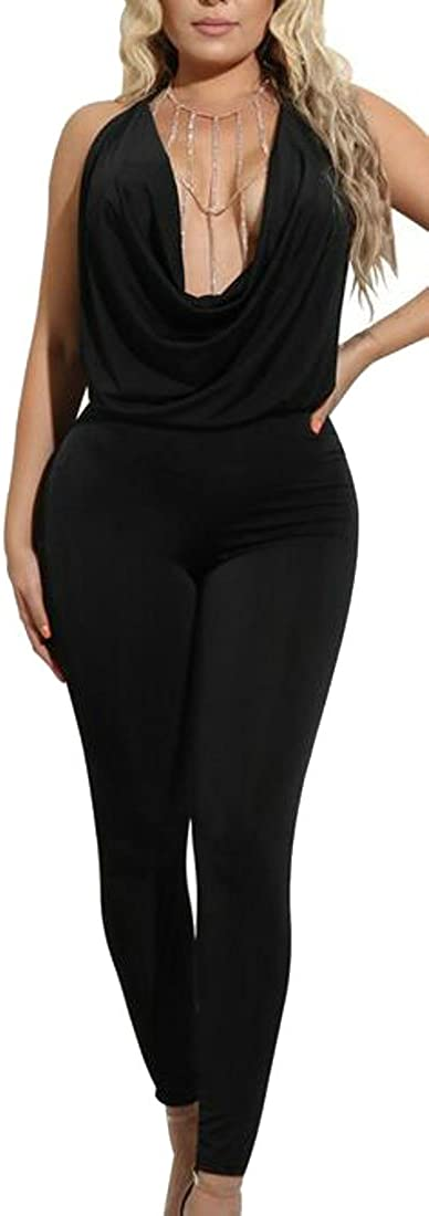Be Loved Beloved Women/'s Plunge V-Neck Pleated Halter Neck Solid Color Backless Package Hip Night Club Jumpsuit