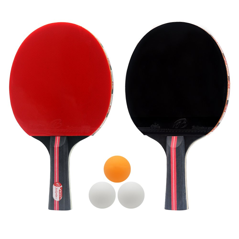 Zology Ping Pong Table Tennis Paddle Set, 4 Star 2-Player ProfessionalTable Tennis Training Racketwith 3 Balls & Carry Bag