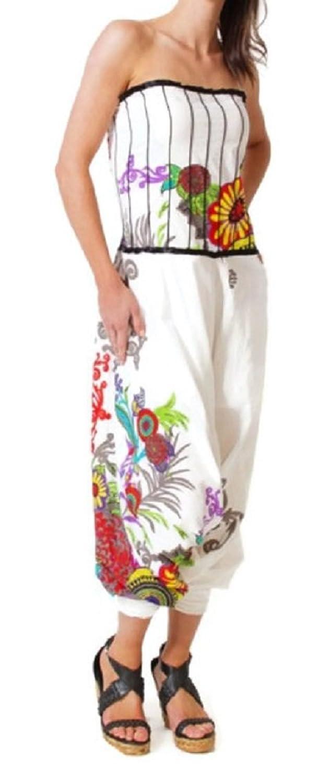 #4196 Damen Designer Jumpsuit Patchwork Baumwolle Einteiler Overall Hosenanzug Hose Catsuit Weiss Grau S/M L/XL
