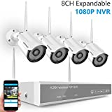 [8CH Expandable] Security Camera System Wireless,Safevant 8CH 1080P NVR Wireless Surveillance System(WIFI NVR Kits) with 4PCS 960P Indoor/Outdoor Wireless Security Cameras,No HDD,Auto Pair
