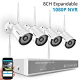 [2019 New] Security Camera System Wireless,Safevant 8CH 1080P NVR Security Camera System(No Hard Drive),4PCS 960P Indoor/Outdoor Wireless Security Cameras with Night Vision,Auto Pair,No Monthly Fee