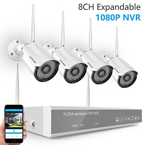 [2019 New] Security Camera System Wireless,Safevant 8CH 1080P NVR Wireless Surveillance System(WiFi NVR Kits) with 4PCS 960P Indoor/Outdoor Wireless Security Cameras,No Hard Drive,Auto Pair